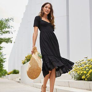 Free People Frances Midi Dress Ruffle Black New
